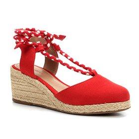 f6204fda7 Sandália Anabela Shoestock Amarração Feminina