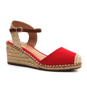 3e08b16951 Sandália Anabela Shoestock Corda Lona Feminina
