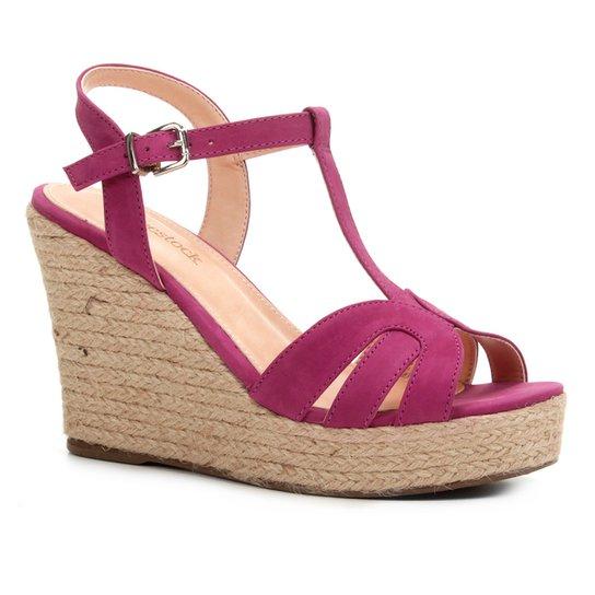 7a6aa4f51 Sandália Plataforma Shoestock Tiras Corda Feminina - Rosa | Shoestock
