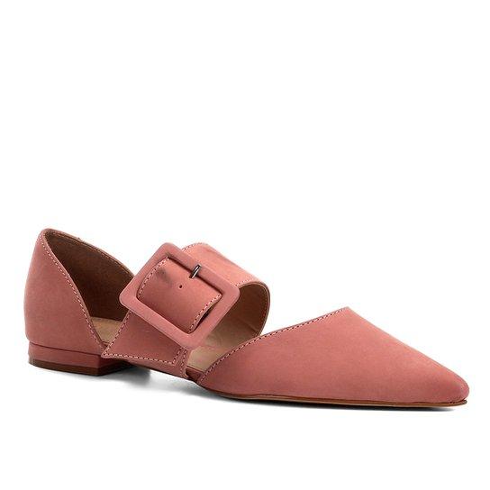 4247380f51 Sapatilha Couro Shoestock Flat Nobuck Fivela Feminina - Rosa ...