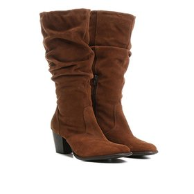 551f03580a8 Bota Couro Slouch Cano Alto Shoestock Feminina - Preto - Compre ...