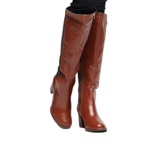4cbe0e67b6 Bota Couro Montaria Shoestock Salto Médio Feminina - Caramelo ...