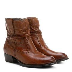 87f62f1331 Bota Slouch Shoestock Couro Cano Curto Feminina