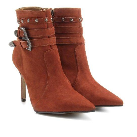 fbcbf2fcd Bota Couro Country Shoestock Bico Fino Feminina - Caramelo   Shoestock