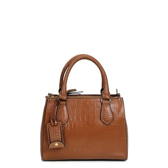 49a03f0410 Bolsa Couro Shoestock Transversal Croco Feminina - Caramelo - Compre ...