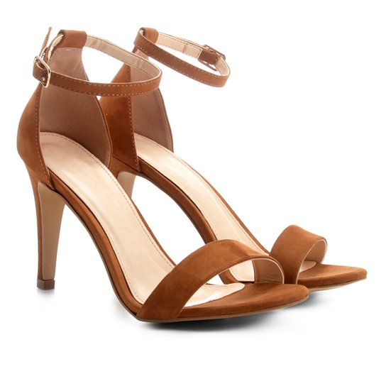 4528c4044b Sandália Couro Shoestock Salto Fino Naked Feminina - Caramelo ...