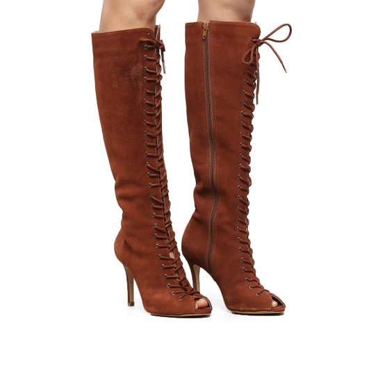 a1d53122ff Bota Couro Cano Longo Shoestock Aberta Lace Up Feminina - Caramelo ...