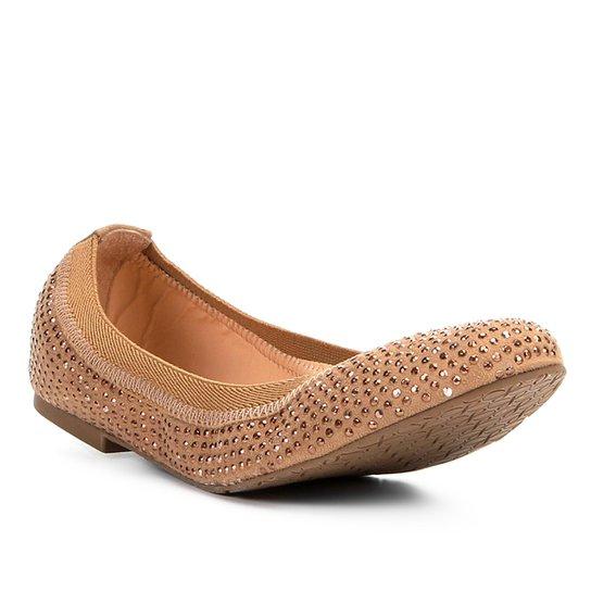 2e52f6b19e1 Sapatilha Couro Shoestock Bico Redondo Hot Fix Feminina - Caramelo ...