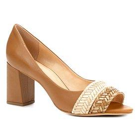 01aa68fc0 Peep Toe Couro Shoestock Salto Alto Snake - Cinza - Compre Agora ...