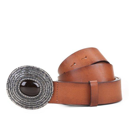 0c512e8f1793a Cinto Couro Shoestock Fivela Pedra Feminino - Caramelo - Compre ...