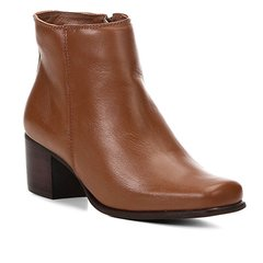 21ad1c33866 Bota Couro Cano Curto Shoestock Salto Bloco Feminina