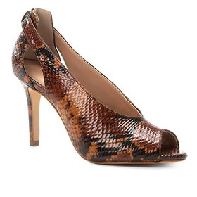 4ca636e953 Peep Toe Couro Shoestock Snake Salto Fino