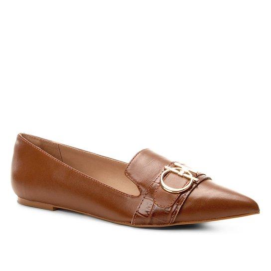 17732d5fdf Mocassim Couro Shoestock Loafer Metal Feminino - Caramelo - Compre ...