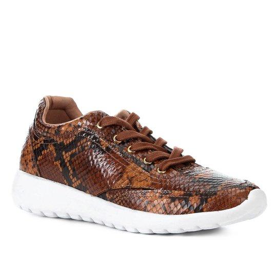 3d9d67355c Tênis Couro Shoestock Snake Feminino - Caramelo