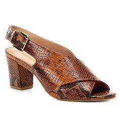 bc0e52111b Sandália Couro Shoestock Strappy Salto Bloco Feminina