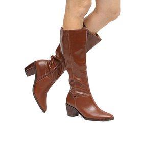 98564cf823 Bota Couro Montaria Shoestock Flat Feminina