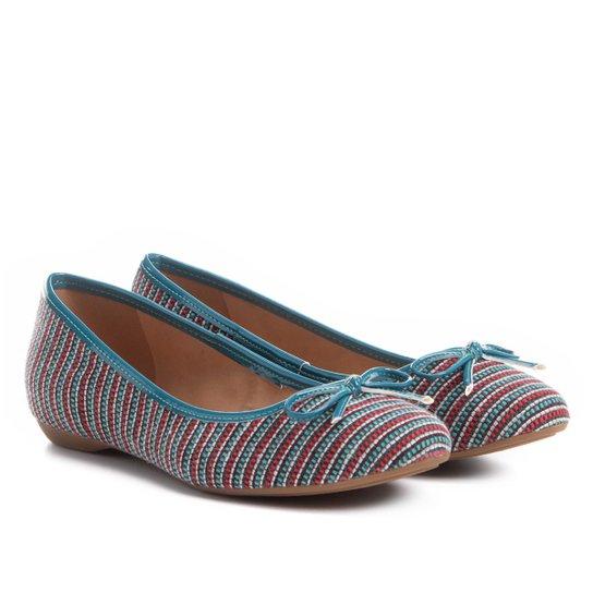 152902353 Sapatilha Shoestock Bico Redondo Laço Feminina - Azul Turquesa
