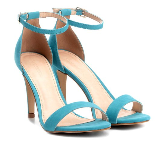 965f8a502a Sandália Couro Shoestock Salto Fino Naked Feminina - Azul Turquesa ...