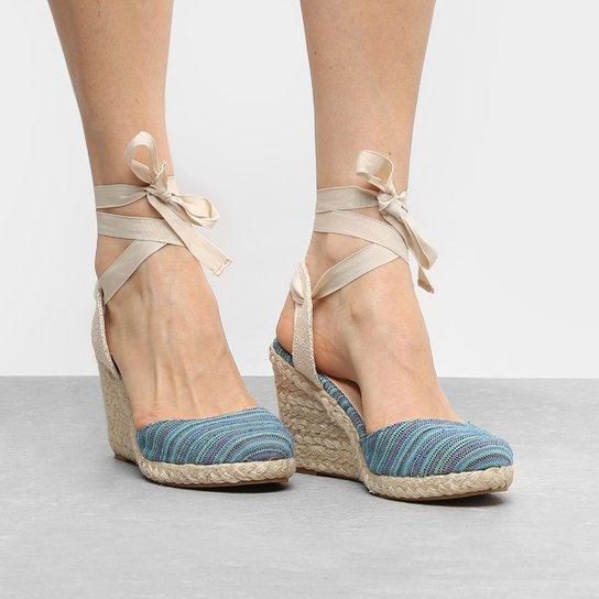 ae55822cc2 Sandália Anabela Shoestock Listrada Feminina - Azul Turquesa