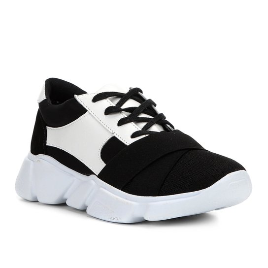 7e0e39460a Tênis Couro Shoestock Chunky Sneaker Neoprene Feminino - Preto+Branco