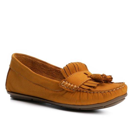 986c2e614b Mocassim Couro Shoestock Franja Feminino - Mostarda - Compre Agora ...