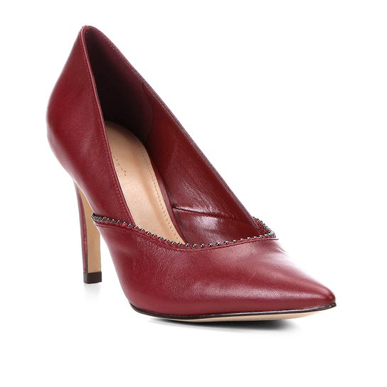 e7e2eda88e Scarpin Couro Shoestock Salto Alto Glam - Vinho - Compre Agora ...