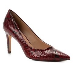 0c4804fdd7 Scarpin Couro Shoestock Snake Salto Alto Bico Fino