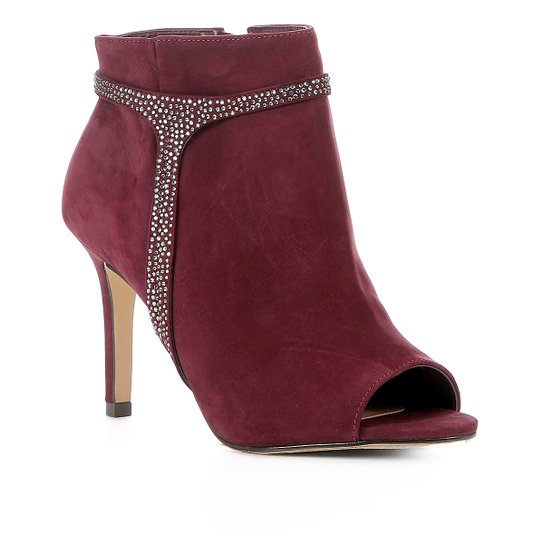 a01428f85f Ankle Boot Shoestock Nobuck Glam Salto Alto Feminina - Vinho | Shoestock