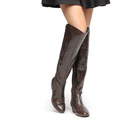 00e14cde97 Bota Couro Over the Knee Shoestock Croco Feminina
