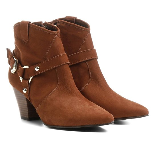 83d4ae3ec5 Bota Couro Country Shoestock Salto Selaria Feminina - Marrom ...