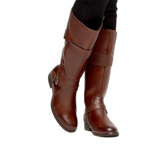 2ac21519e5 Bota Couro Montaria Shoestock Cobra Feminina - Marrom