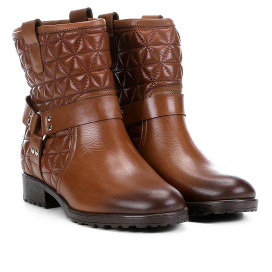 283c4adc9 Bota Biker Shoestock Matelassê Feminina - Marrom   Shoestock
