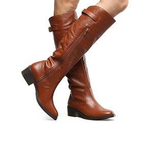 c93b4d0bf9 Bota Couro Montaria Shoestock Flat Feminina - Preto - Compre Agora ...