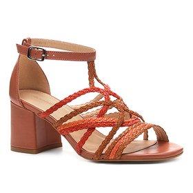 f6dc0db6c Sandália Couro Shoestock Salto Bloco Tranças - Marrom | Shoestock