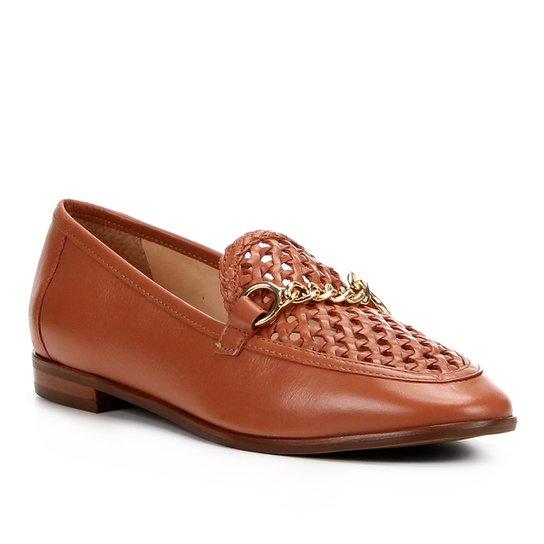 01718abdf Mocassim Couro Shoestock Tressê Feminino - Marrom | Shoestock