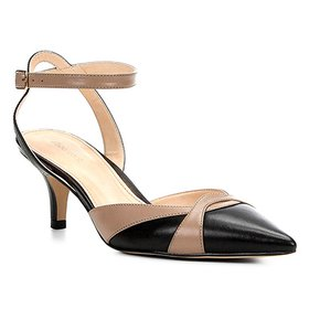 0a39054f22 Scarpin Couro Shoestock Salto Médio Nobuck - Amarelo