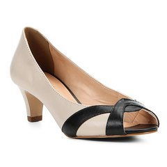 d68cf9fdb Peep Toe Couro Shoestock Salto Grosso Bicolor