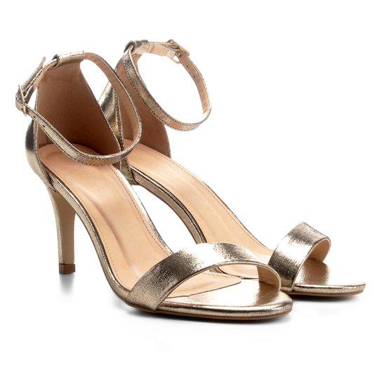 fb7cc5b4ea Sandália Couro Shoestock Salto Fino Naked Feminina - Dourado