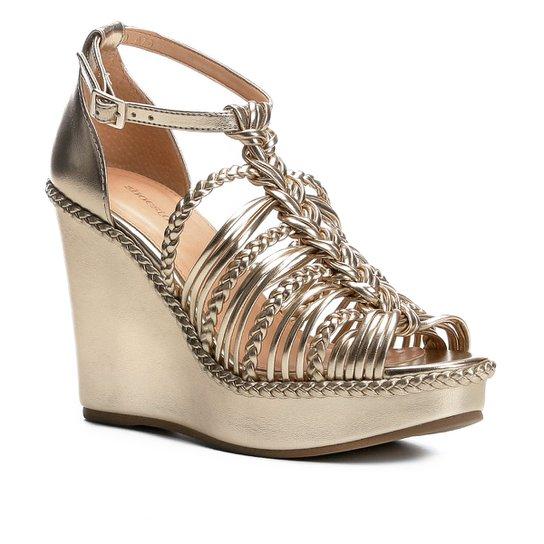 44ff82fdf Sandália Anabela Shoestock Trança Feminina - Dourado - Compre Agora ...