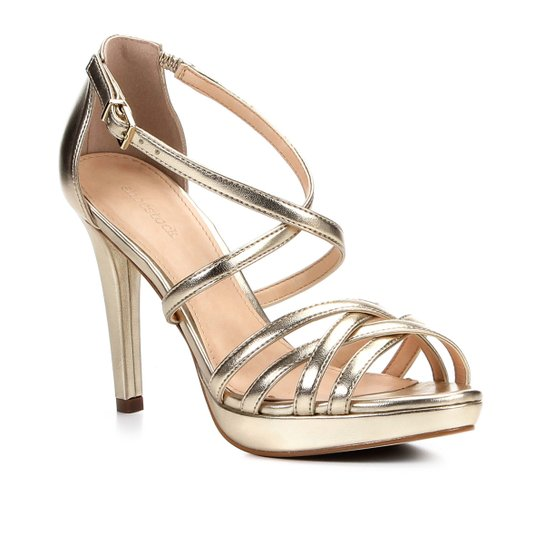 32c0cae31 Sandália Shoestock Salto Fino Recortes Feminina - Dourado | Shoestock