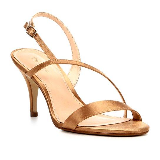265e3201c6 Sandália Shoestock Salto Fino Cetim Feminina - Dourado - Compre ...