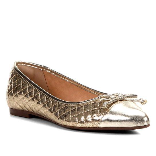 eb00223c3 Sapatilha Shoestock Matelassê Bico Fino Laço Feminina - Dourado ...