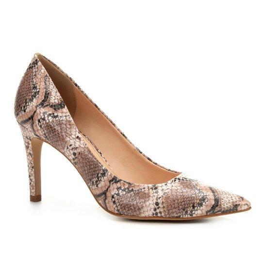 8ddaad2af5 Scarpin Couro Shoestock Salto Alto Snake - Rosa Claro