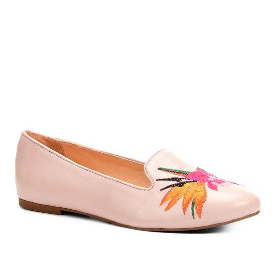 075e6b63b Sapatilha Couro Shoestock Slipper Bordado Floral Feminina - Rosa Claro
