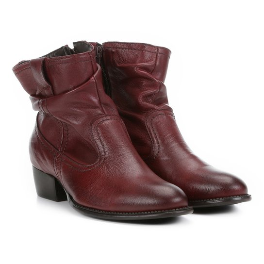 39e4a6776 Bota Slouch Shoestock Couro Cano Curto Feminina - Bordô | Shoestock