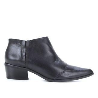 Ankle Boot Couro Shoestock Salto Baixo Bico Fino
