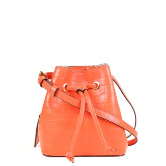 Bolsa Couro Shoestock Croco Bucket Belt Bag Feminina