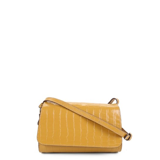Bolsa Couro Shoestock Croco Transversal Feminina - Amarelo