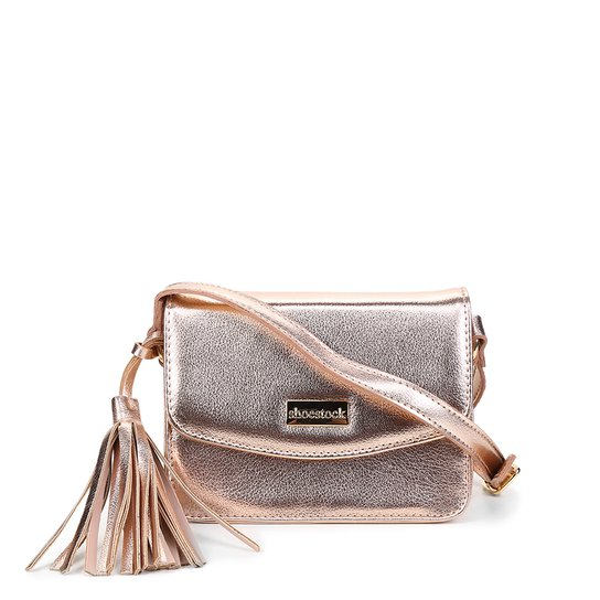 Bolsa Couro Shoestock Crossbody Mini Feminina - Prata