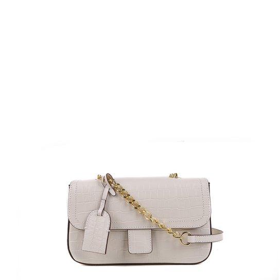 Bolsa Couro Shoestock Flap Croco Color Chain Feminina - Off White